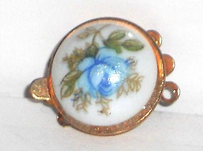 Vintage Clasp, Limoges Two Strand Bracelet Necklace Strand Rose Blue NOS #1474A