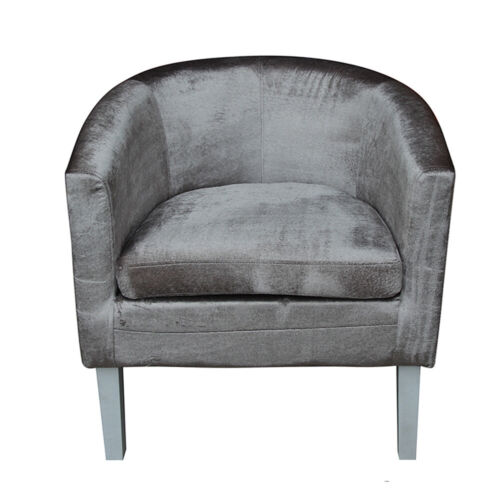 Crushed Velvet Fabric Grey Tub Chair Armchair Home Cafe Lounge Room For Adults