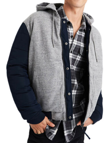 American Eagle Mens Blue Gray Reversible Hooded Bomber Jacket Sz Large L 7385-2