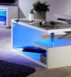 Details About Polar Modern White High Gloss Blue Led Coffee Table