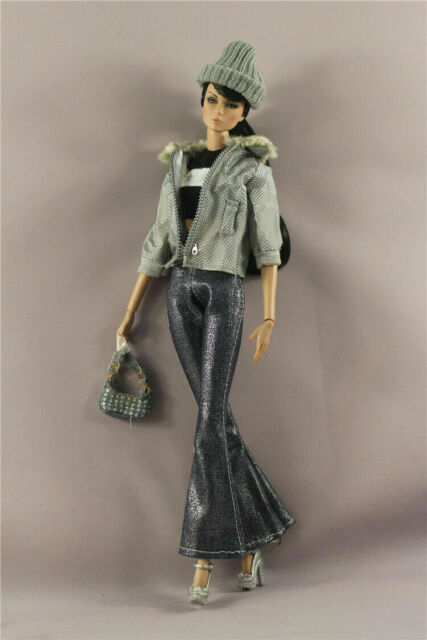 5in1 Fashion Clothes//Outfit Coat+Pants+Belt+bag+shoes For 11.5in.Doll