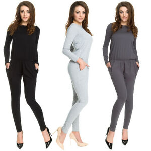 Womens Boat Neck Long Sleeves Plain Jumpsuit With Pockets Elasticated Waist 9002