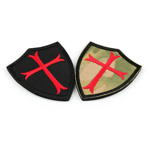 Knights-Templar-Red-Cross-3-034-X-2-5-034-Shield-Military-Army-Embroidered-Patch-Badge