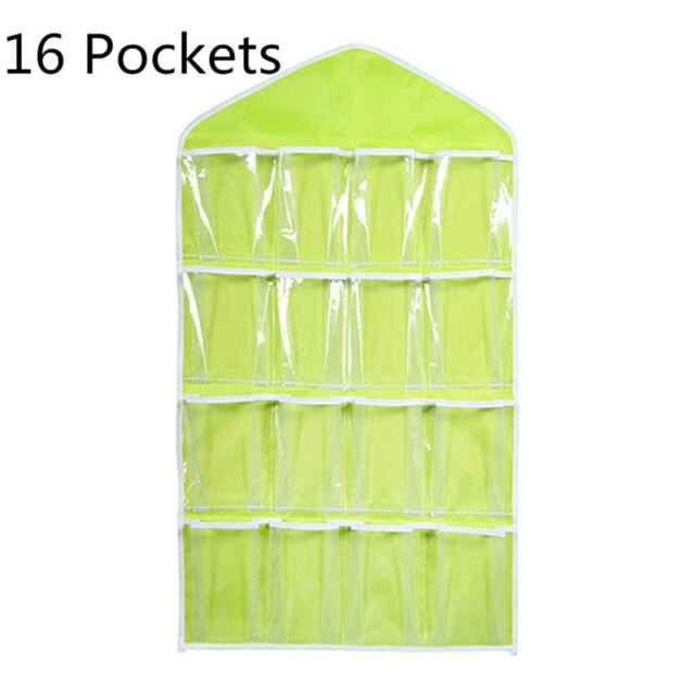16 Pockets Hanging Shoe Organizer Over The Door Storage Bag Holder Rack Closet