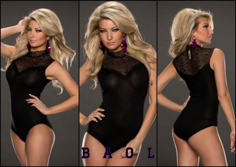 Baol Womens Black Lace Sleeveless Teddy Lingerie Top Bodysuit Size M/ 8-10 Uk