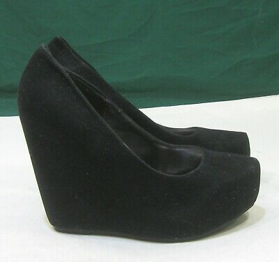 "new black 55""high wedge heel 15""platform round toe sexy"