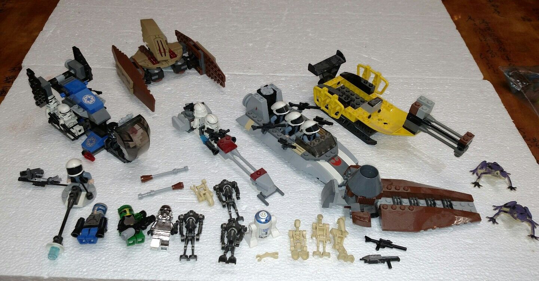 LEGO STAR WARS RANDOM LOT OF SHIPS VEHICLES & 21 MINI FIGURES R2D2 STORMTROOPERS