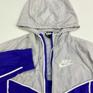 Nike-Windbreaker-Jacket-Mens-M-Purple-Gray-Full-Zip-Drawstring-Hooded-Mesh-Lined