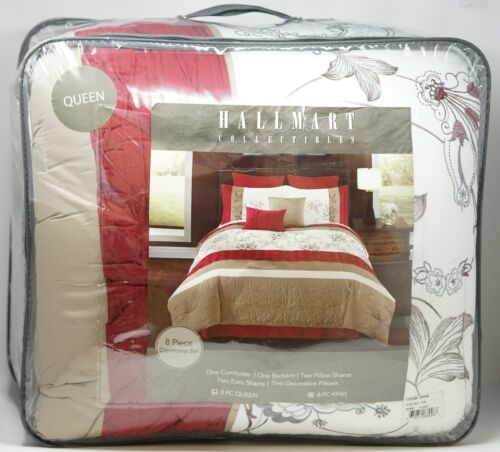 HMC Riverbrook Home Ellie 8 Pc Floral Comforter Set - QUEEN - White Taupe Red