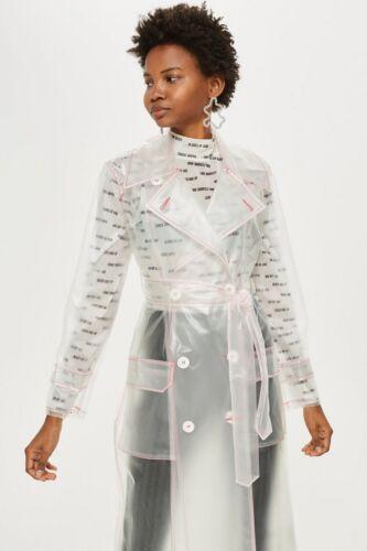 Pvc Plastique Vinyle Mac Transparent Transparent Raincoat Rain En Blanc Coat Topshop Xs xIZY0nFqwY