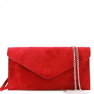 c006c784fe Image is loading DV-Fashions-Italian-Suede-Leather-Wedding-Evening-Clutch-