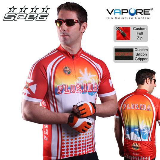 SPEG Florida Mens Short Sleeve Cycling Jersey Full Zipper 100% Vapore