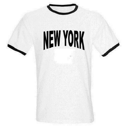 NY NEW YORK RINGER WHITE T SHIRTS ALL ADULT SIZES