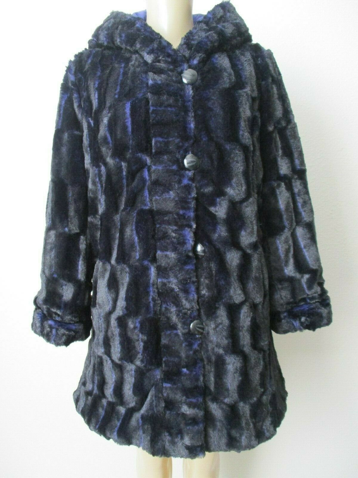 HAL RUBENSTEIN blueEBERRY PURPLE REVERSIBLE FAUX FUR HOODED COAT SIZE M - NWT