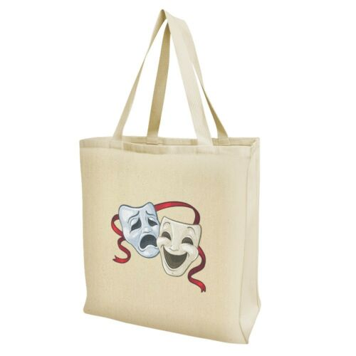 Drama Comedy Tragedy Masks Theater Grocery Travel Reusable Tote Bag
