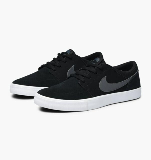a69e725210aa Nike Mens SB Portmore II Solarsoft Black Low Top Skate Sneaker Size 8 880266