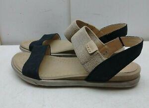 487b5c3dff4 ECCO Black Gray Leather Slingback Sandal Open Toe Casual Women Shoes ...