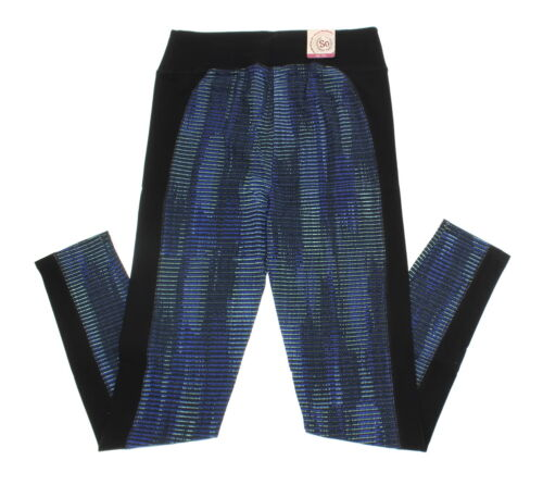 Size Large SO Junior/'s Blue Dot High Waisted Pieced Yoga Leggings