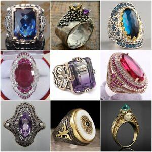 Retro-Turkish-Handmade-Prinecss-Sapphire-925-Silver-Men-039-s-Ring-Jewelry-NEW-6-10
