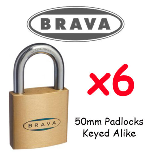 Padlocks x6 KEYED ALIKE BRAVA 50mm  High quality BULK LOT