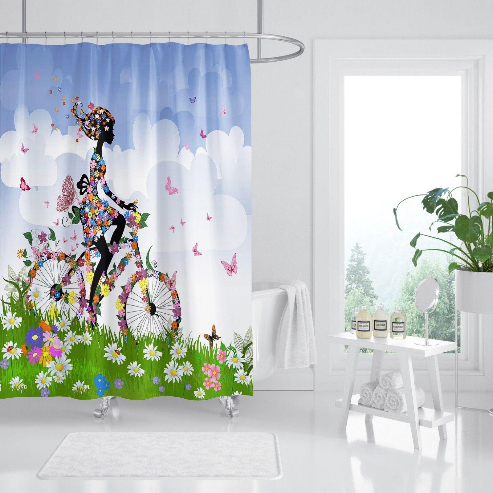 3D Fille Vélo Pelouse 9 Rideau de Douche Imperméable Fibre Salle de Bain Home Windows Toilette