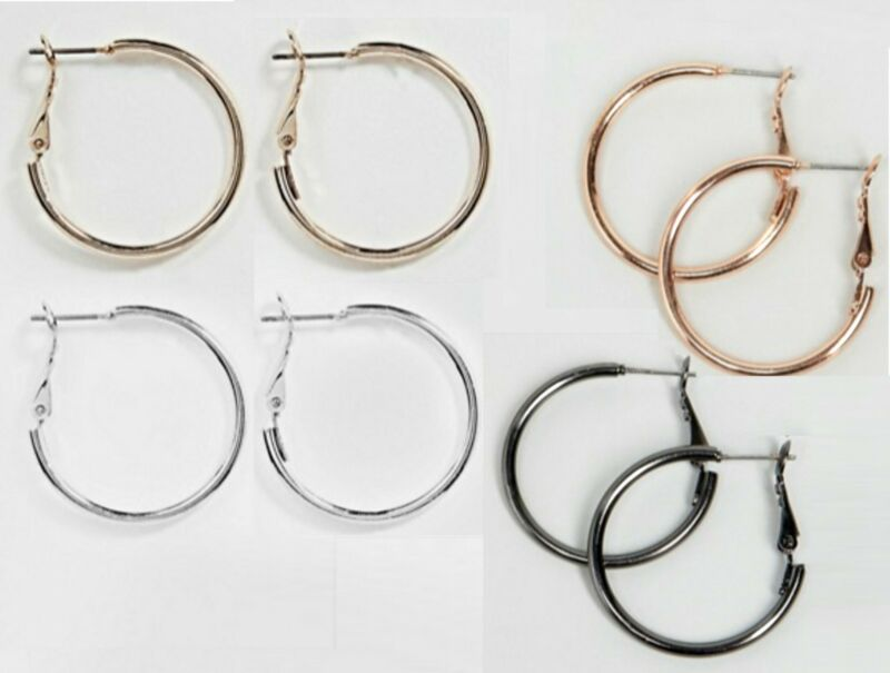 Simple Hoop Earrings Silver And Gold-tone Finishes