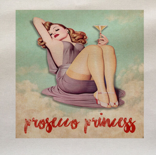 prosecco princess Wine Pin Up Fabric Panel Make A Cushion Upholstery Craft