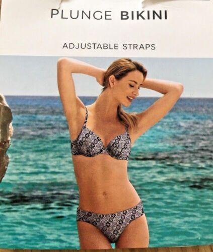 M/&S Nero Bianco Piastrelle scollato sagomato coppe Stampa Top Bikini Taglie 34E 36DD