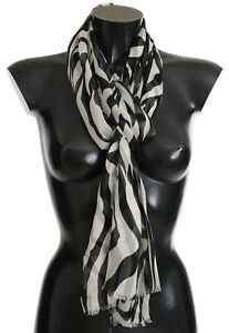 DOLCE-amp-GABBANA-Scarf-100-Silk-Black-White-Zebra-Print-70cm-x-200cm-RRP-340