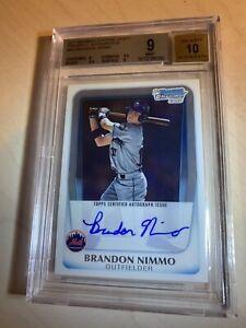 "😳2011 Bowman Chrome Brandon Nimmo Auto RC""BGS 9 Mint"" 2/9.5s 10/Auto Mets Star"