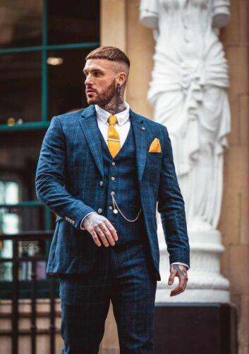 Mens Cavani Peaky Blinders Tweed Check Vintage Wedding 3 Piece Suit Tailored Fit