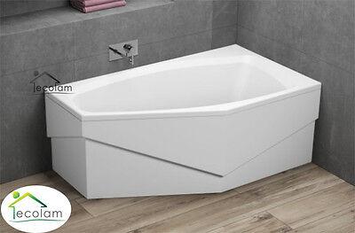 Badewanne Eckbadewanne 140 x 80 cm ohne/mit Schürze Ab/Überlauf Acryl rechts