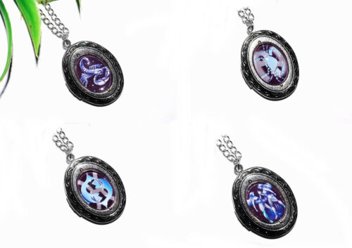 AUSWAHL + STERNZEICHEN Medaillon Horoskop Foto silber Kette öffnen Anhänger