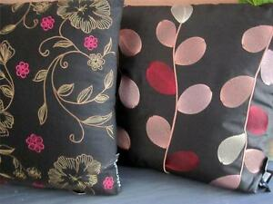 Embroidered-Cushion-Black-Floral-Vine-Floral-Pink-Gold-Decorative-Sofa-Bed-Throw