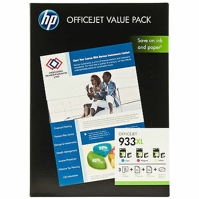 GENUINE HP HIGH CAPACITY HP933XL 3 COLOUR INK CARTRIDGE VALUE PACK + PHOTO PAPER