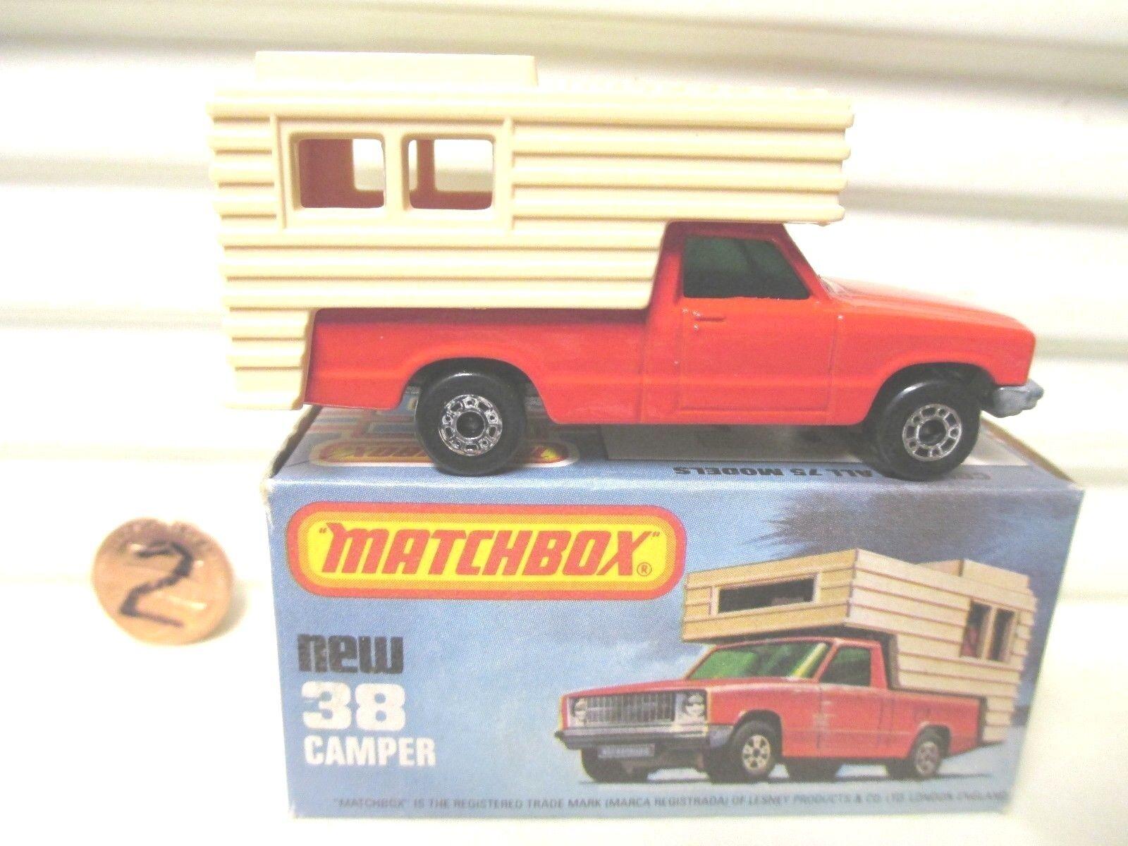 LESNEY MATCHBOX MATCHBOX MATCHBOX MB38D orange Red + BEIGE FORD CAMPER MINT in Mint Picture Box 5c782e