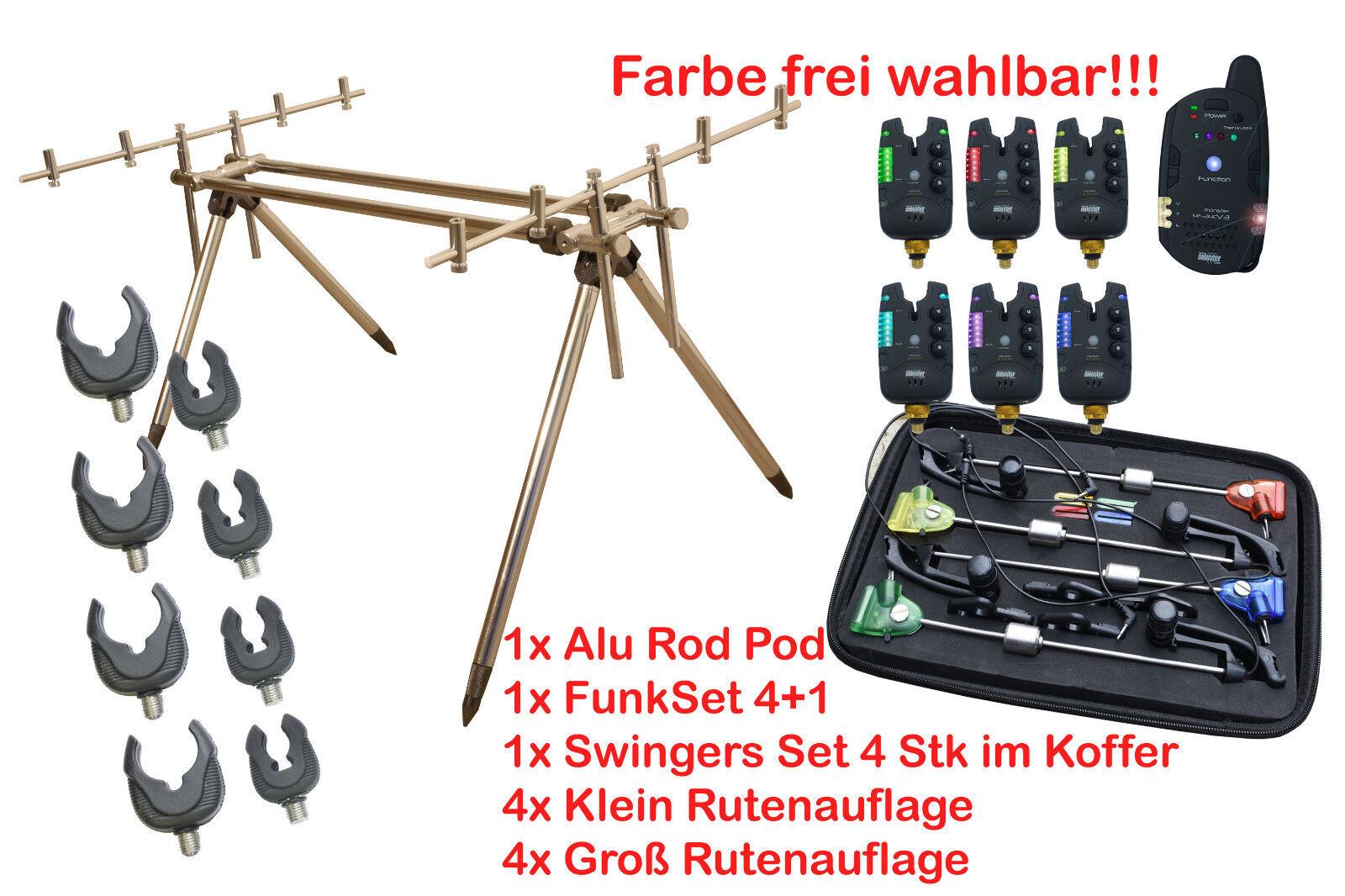Rod Pod für 3 Angelrute mit Bissanzeiger + Pendelbissanzeiger MultiFarbe Angebot