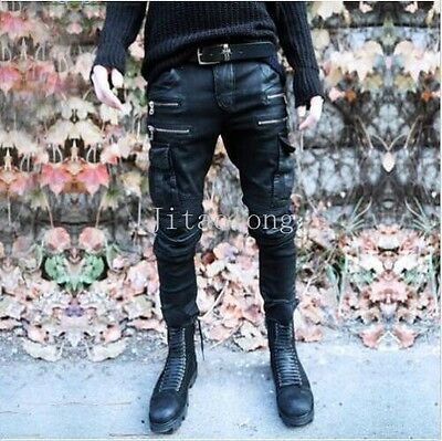 Punk Rock Mens Black Zip Gothic Hip-hop Denim Slim Fit DJ pencil Pants Trousers