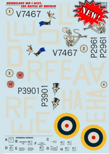 Print Scale 32-013 Hurricane Mk.1 Aces. The battle of Britain 1:32 DECAL