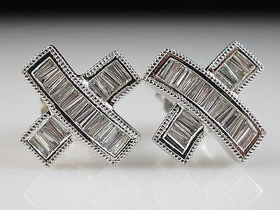 14K Diamond Earrings G/VS Baguette Contemporary Modern X Pierced 1/2ctw White