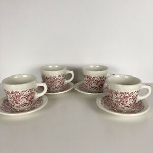 Vintage-Syracuse-China-ROXBURY-RED-Set-Of-4-Restaurant-Ware-Cups-And-Saucers