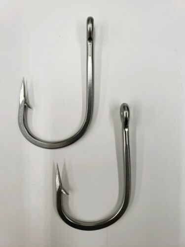 2 Pack Mustad 7732SS  Big Game Stainless Steel Sea Demon Tuna Hooks Size 8//0