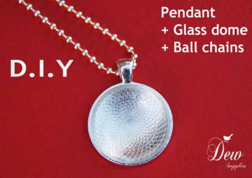 "10 x DIY round silver pendant kit 1/"" tray bezel glass cabochon chain 25mm"