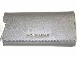 cdab72293432 Michael Kors Jet Set Travel Flap Carryall Wallet Nickel Leather New ...