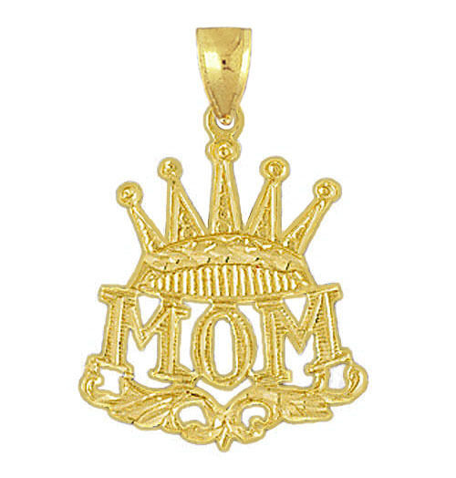 New 14k Yellow gold Mothers Mom Crown Charm Pendant