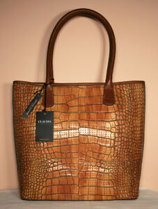 Image Is Loading Claudia Firenze Brown Cognac Croc Leather Perforated Tote
