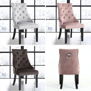 Velvet Knockerback Button Tufted Back Dining Chair Chrome Ring Wood