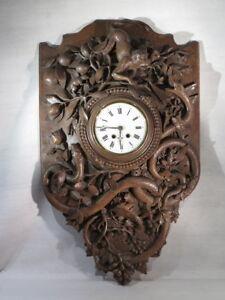 Adroit Ancien Spectaculaire Grand Cartel Pendule Bois Sculpte Singe Serpents Foret Noir