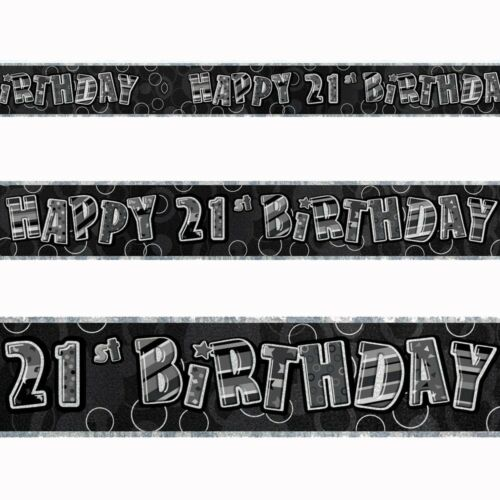 9ft Happy 21st Birthday Black Sparkle Prismatic Party Foil Banner Decoration