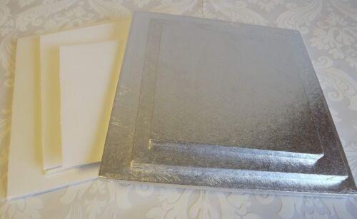 tambour gâteau échelonné et box Set 8 12 inch square tambours /& cases 10 W6-Mariage